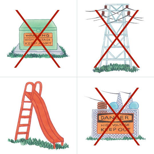 Do not climb transformers towers for power lines or fences to substations.