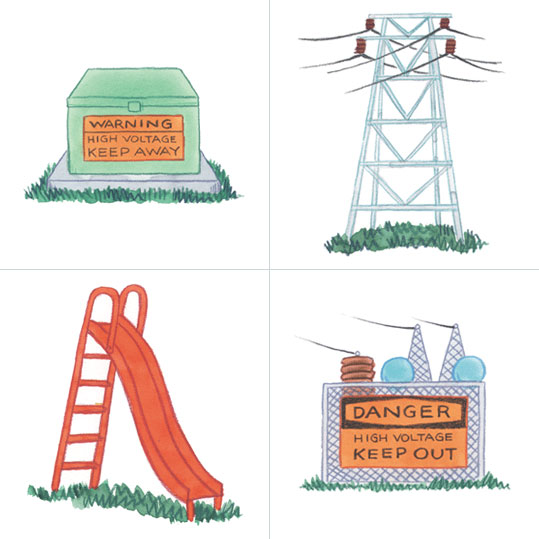 Which is not safe to climb a transformer tower for power lines a slide or a fence to a substation.