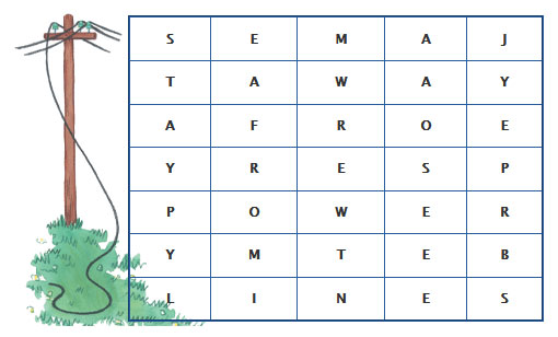 Cross word puzzle that contains the hidden message Stay Away From Powerlines.
