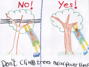 Child's drawing of person climbing tree near power lines