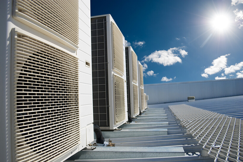 Close up of air conditioning units on roof