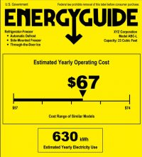 EnergyGuide label for refrigerator/freezer