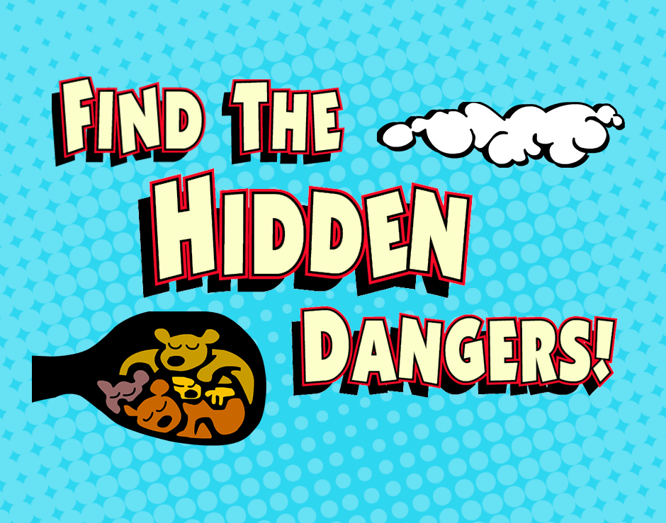 Find The Hidden Dangers Gas text with illustrated cloud and bears huddled in den
