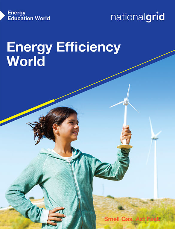 Energy Efficiency World book cover with young girl holding a plastic toy windmill standing outside near windmill farm