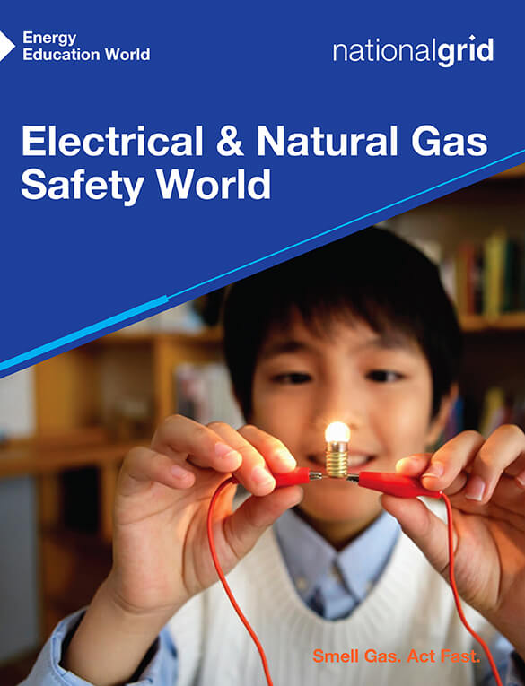 Electrical & Natural Gas Safety World book cover young Asian boy creating circuit to light small light bulb