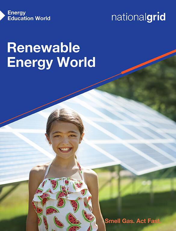 Renewable Energy World book cover with young girl smiling in front of solar grid panels