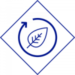 NGrid Environment Future icon blue diamond outlining leaf surround by unclosed circle with arrow